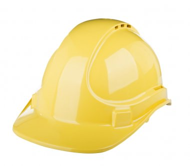 Hard hat used on construction site in yellow colour isolated on white stock vector