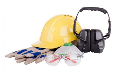 Safety equipment or PPE - personal protective equipment - with hard hat, safety glasses, gloves, face mask and earmuffs isolated on white stock vector