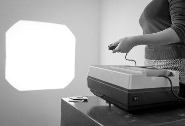 Retro Slide Projector Woman Black and White