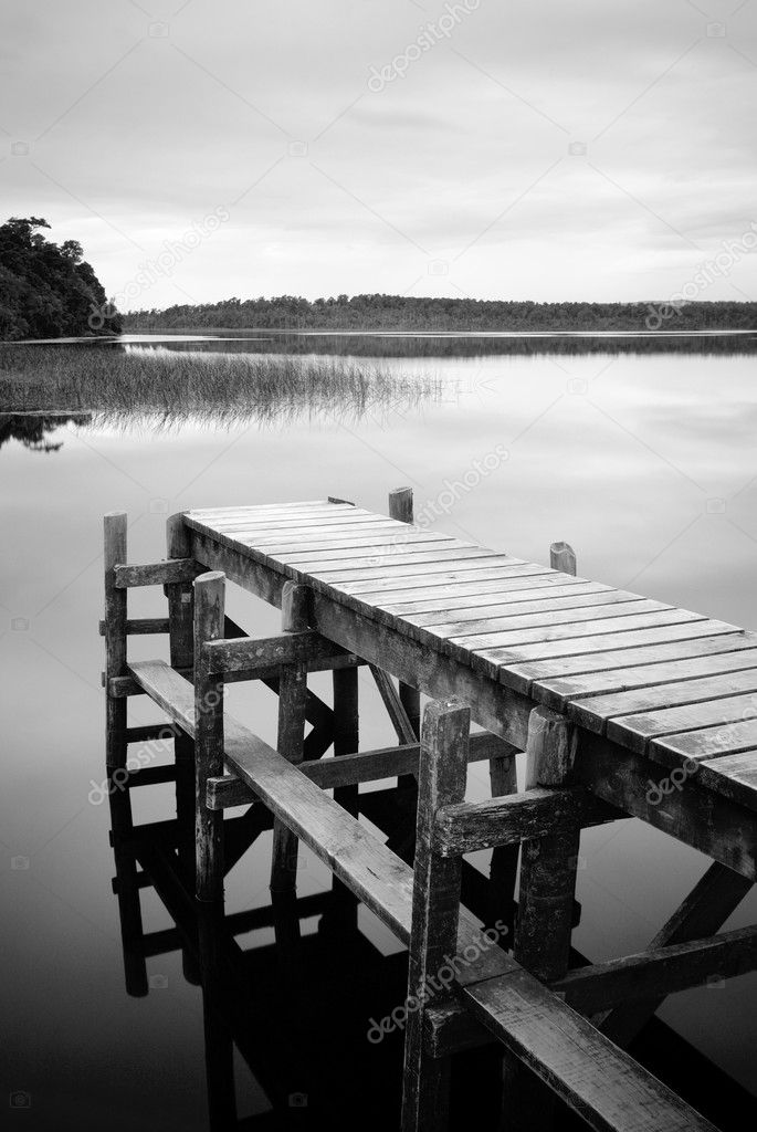 Empty Jetty in black and white