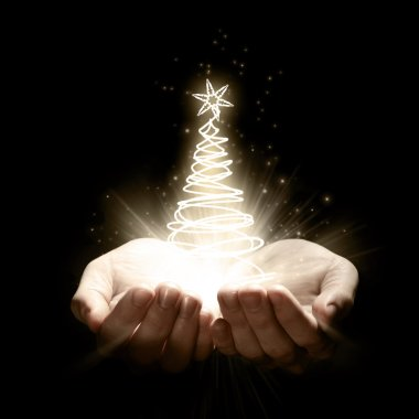 Bright christmas tree in human hands