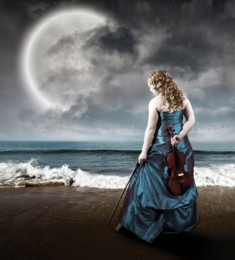 Violin at the beach
