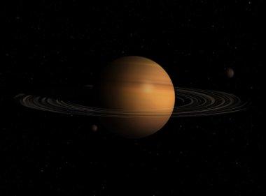 Saturn on Black Background