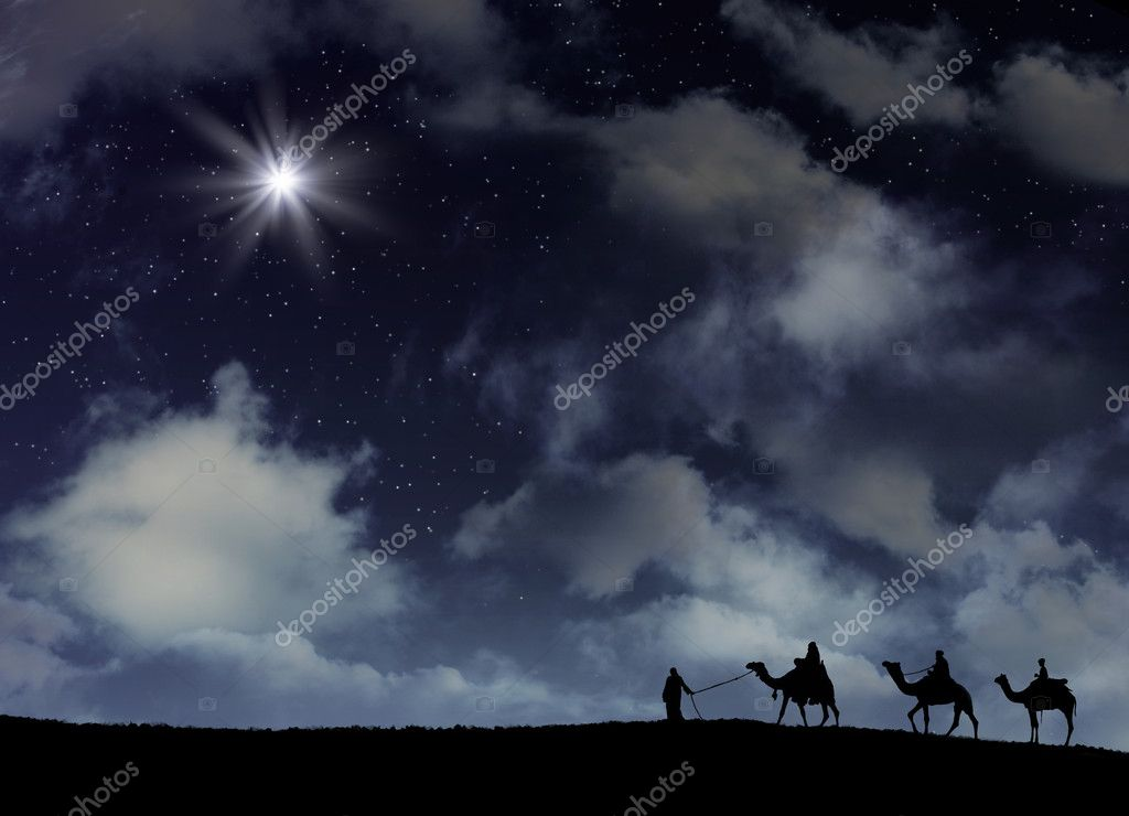 Three wise men follow star with space background.