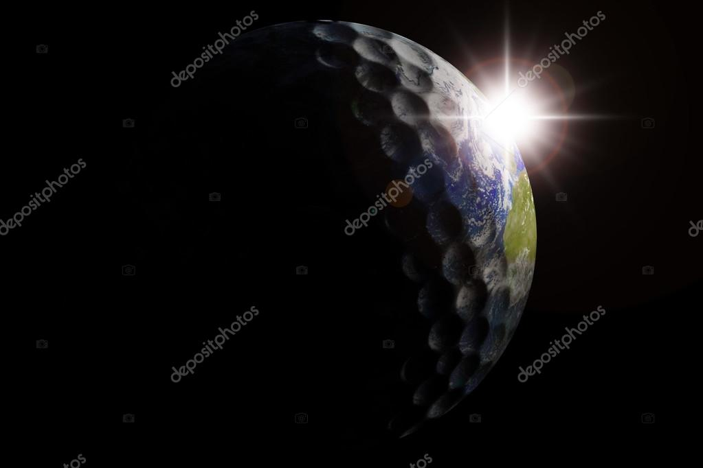 Golf ball globe in outer space