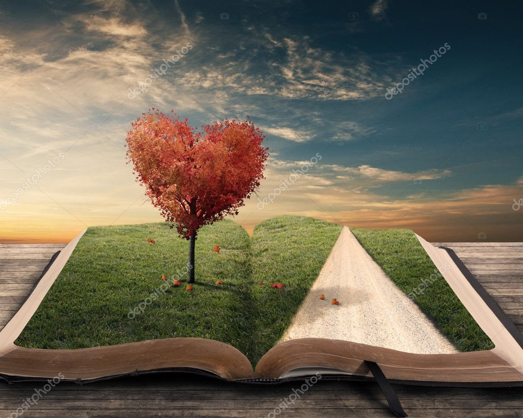 Heart tree and book