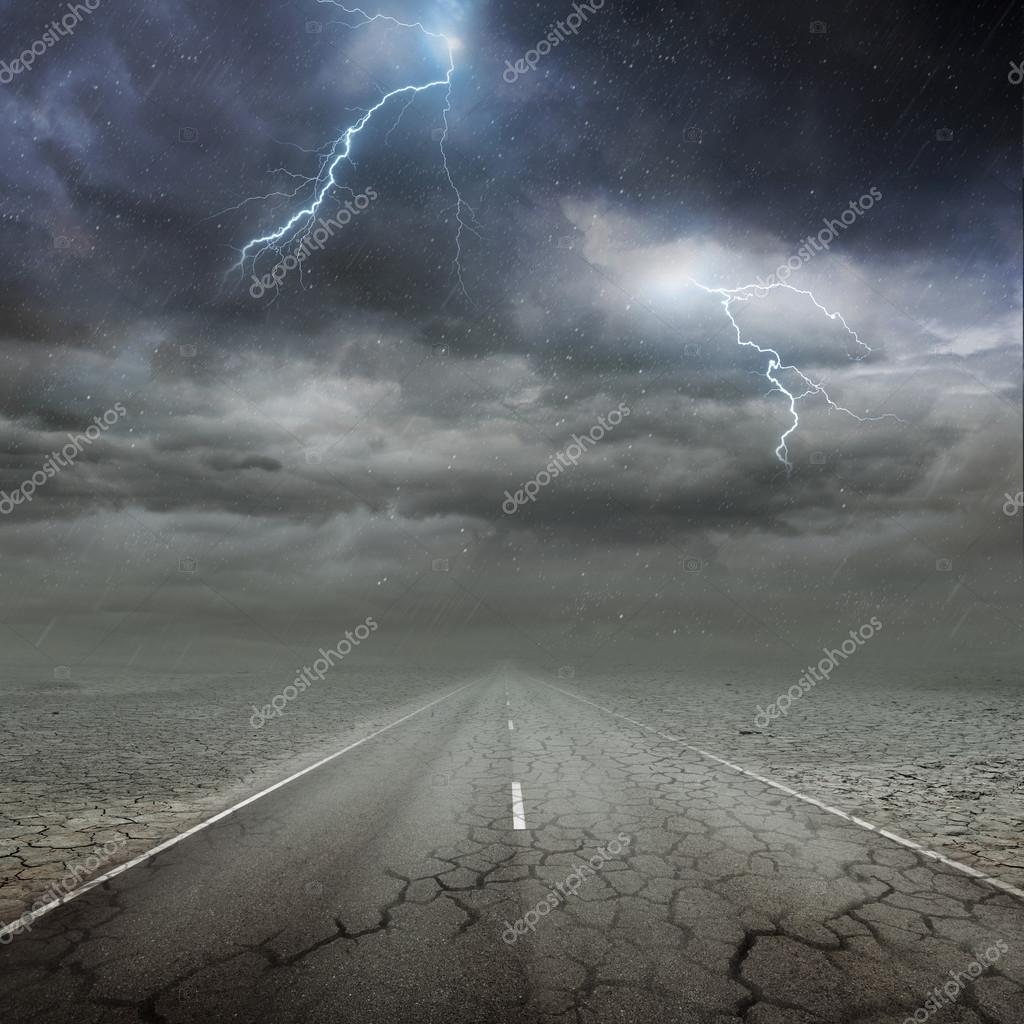 Along the road. Lightning