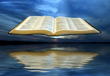 Bible over the clouds