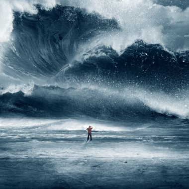 Huge Tidal wave with man