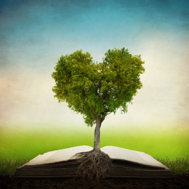 Heart shaped tree on open book stock vector