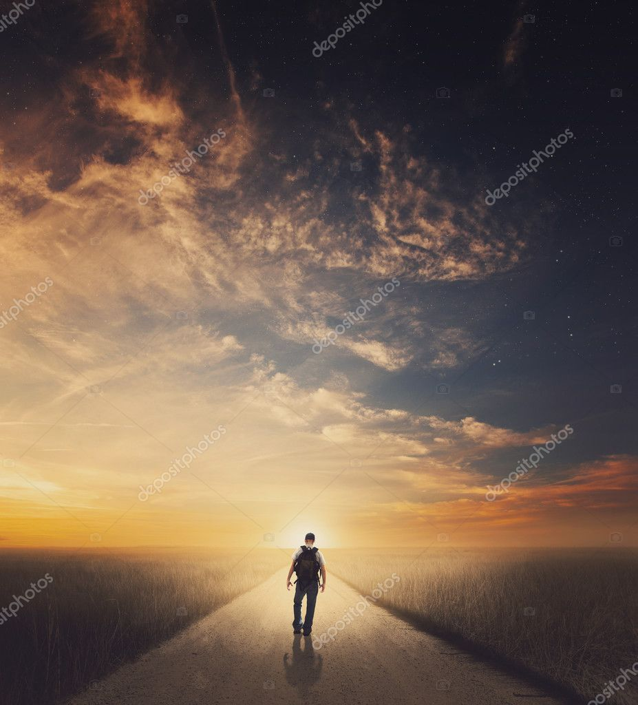 Man walking down road