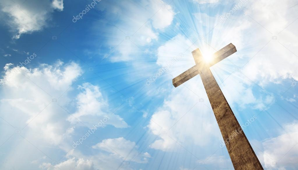 A wooden Christian cross with bright sun and clouds. stock vector