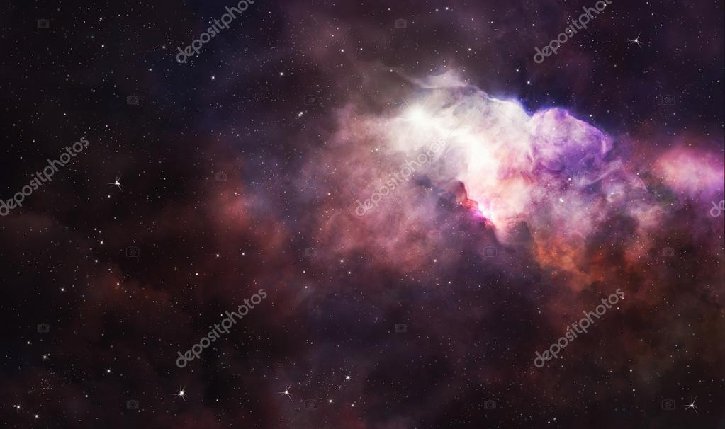 Pink nebula in deep space
