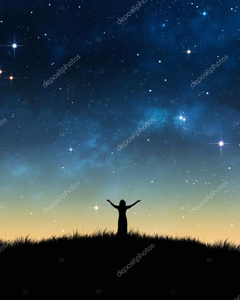 Woman praising with space background