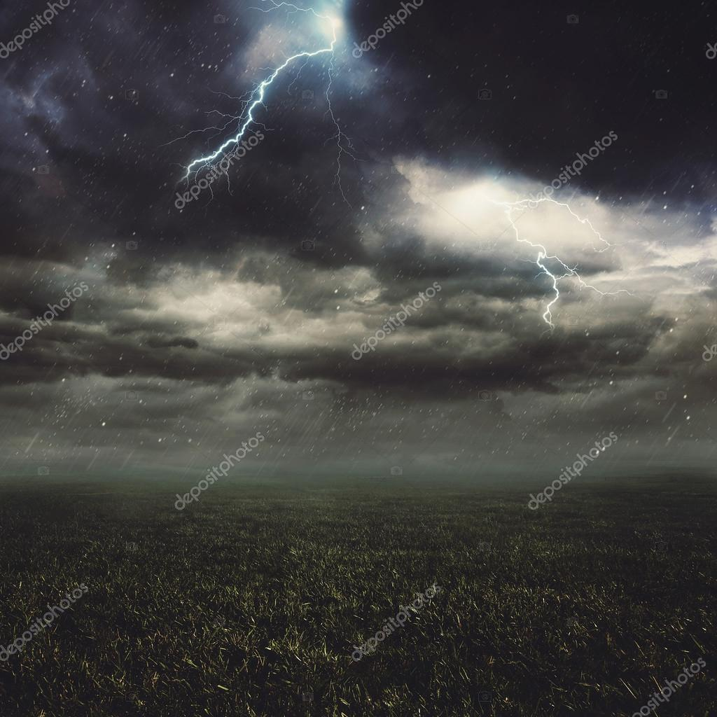 Lightning flash over a field