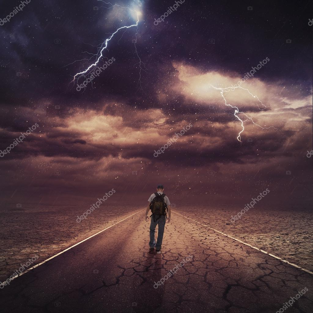 A man walking down a road