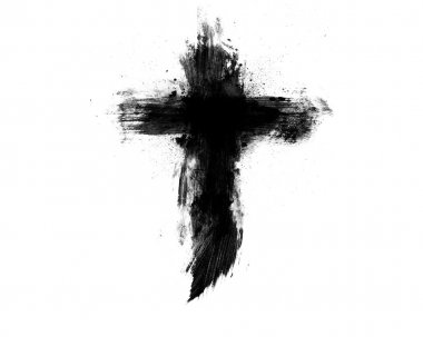 Black cross on a white background