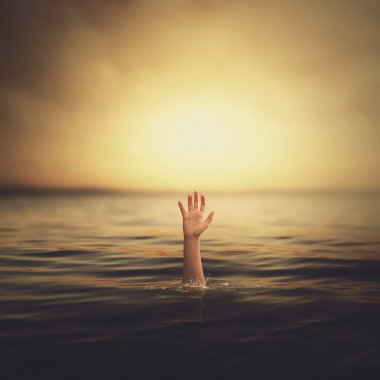 A hand coming out of the water