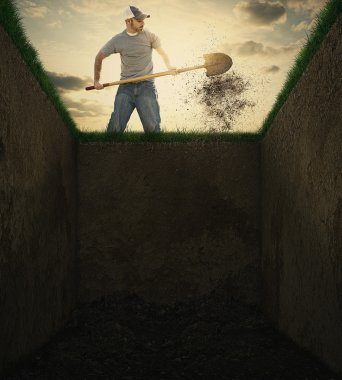 A man used a shovel to throw dirt into an empty grave. stock vector