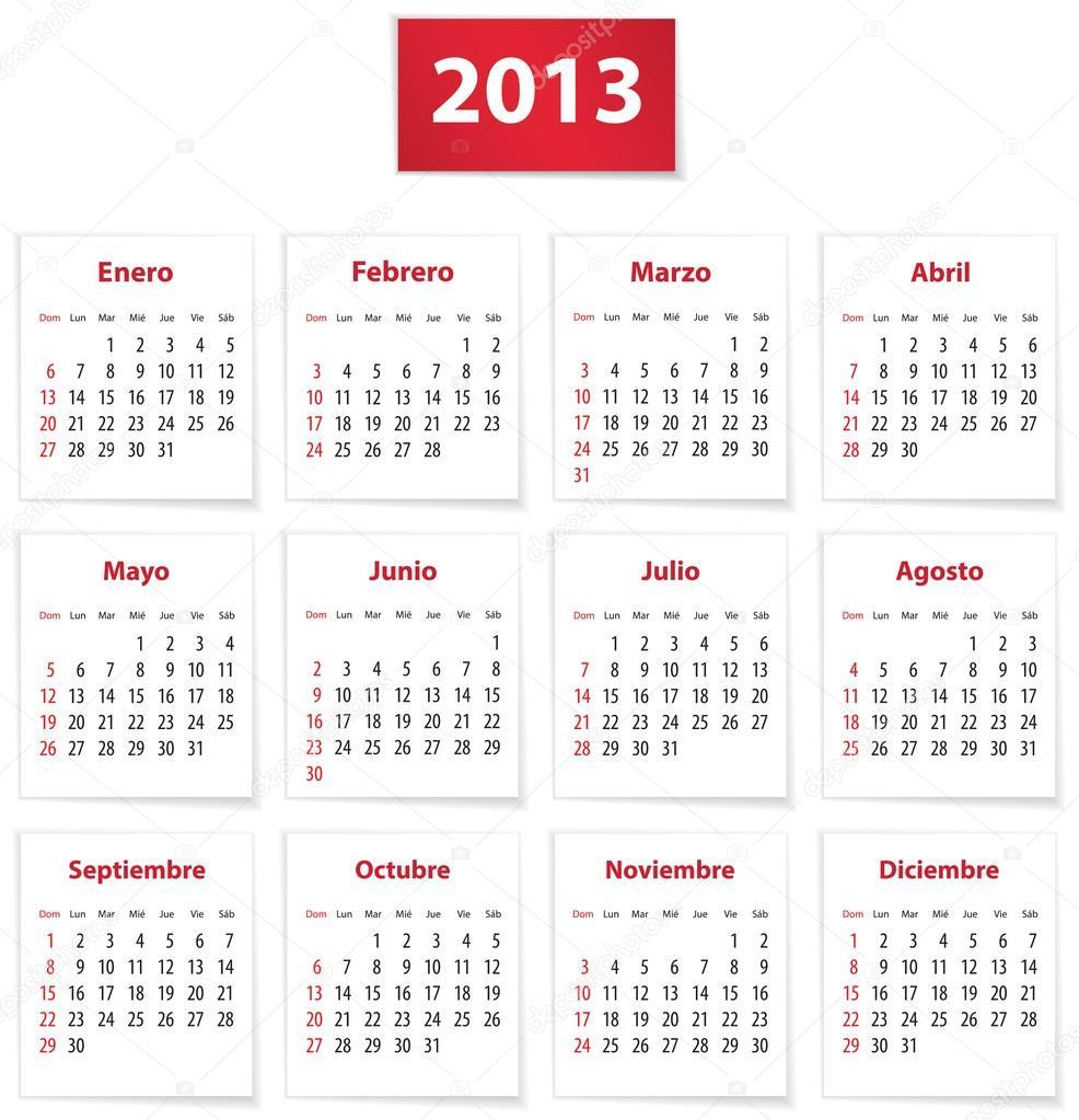 Illustration For Calendar : Spanish calendar for — stock vector mmarikk