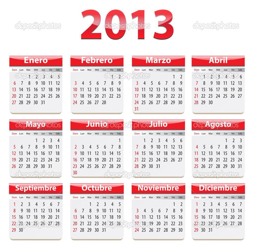 2o13 naptár a spanyol 2013 naptár — Stock Vektor © mmarikk #18316353 2o13 naptár