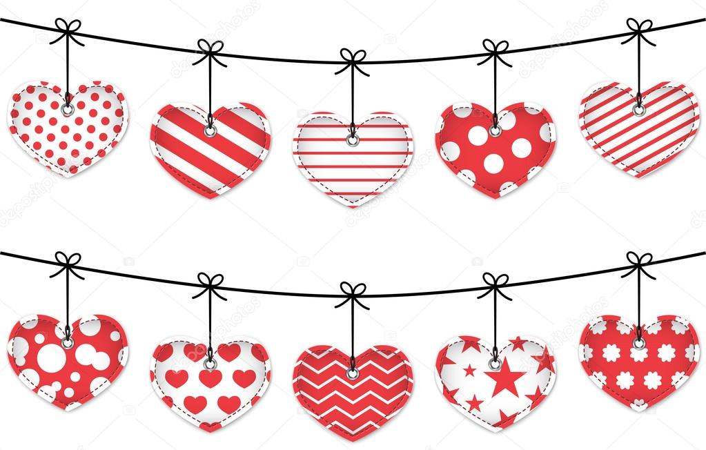 Valentine red textured hearts tied with bows hanging on white background. Vector clipart vector