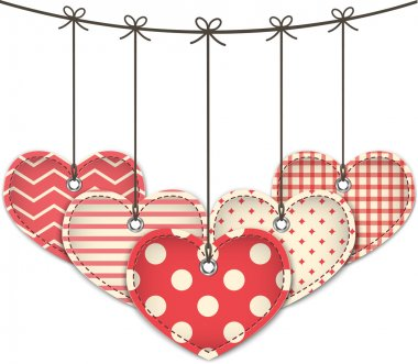 Valentine's Day textured hearts. Vector illustration clip art vector