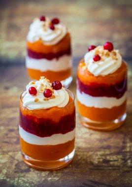Pumpkin and cranberry dessert