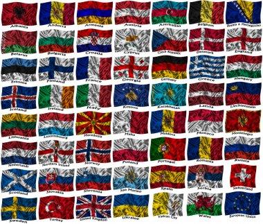 Waving colourful Europe flags