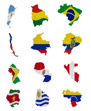 South America countries flag maps