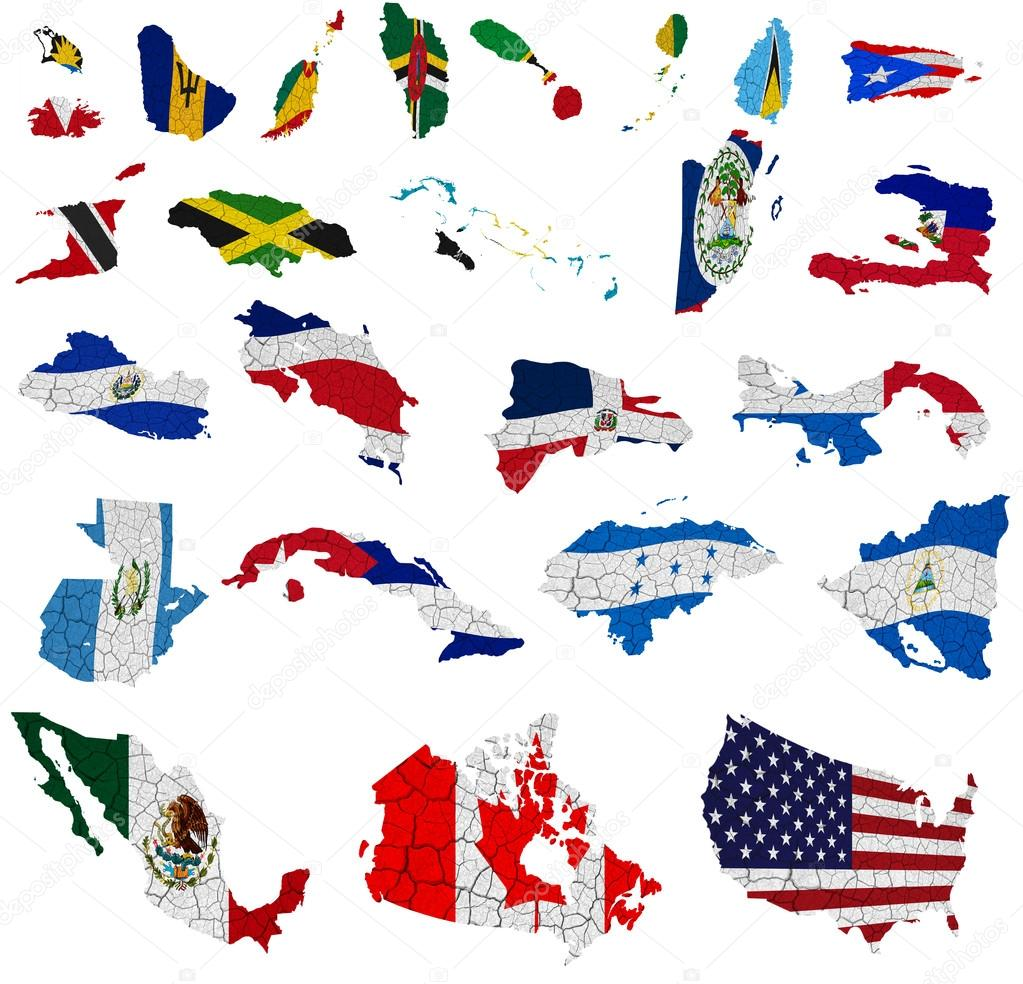 North America countries flag maps Stock Editorial Photo