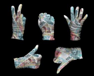 Czech Republic money gloves