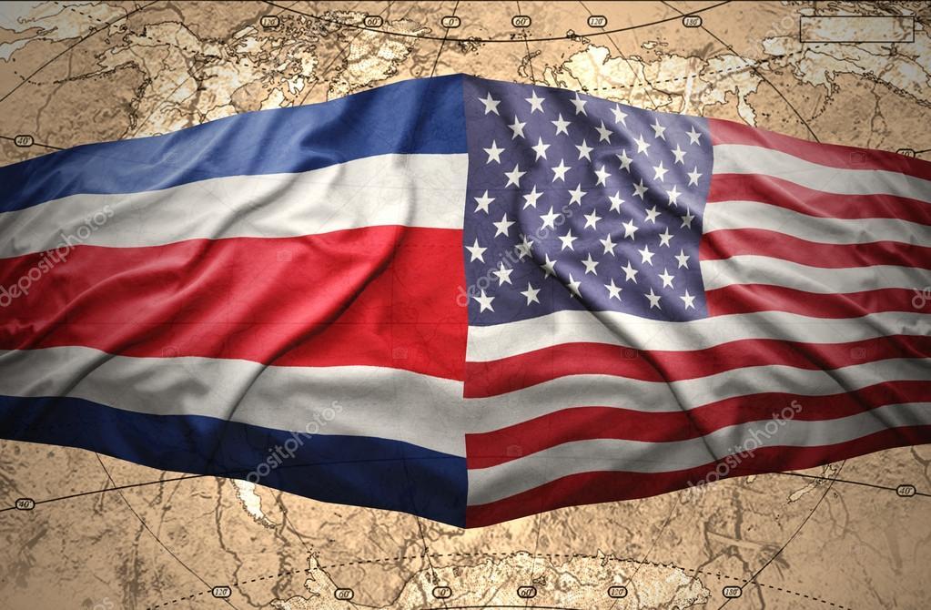 Costa rica and united states of america stock photo ruletkka waving costa rica and american flags on the of the political map of the world photo by ruletkka gumiabroncs Gallery