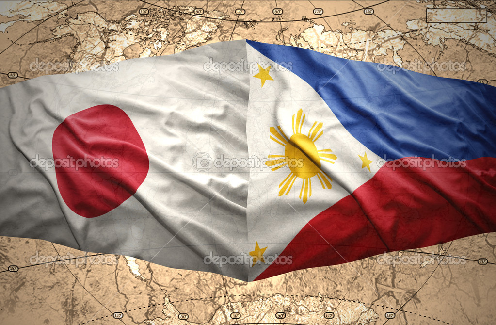 Philippines and japan stock photo ruletkka 39648271 waving philippine and japanese flags of the political map of the world photo by ruletkka gumiabroncs Images