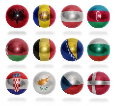 European countries (From A to D) flag balls