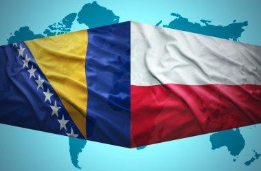 Waving Bosnian and Polish flags