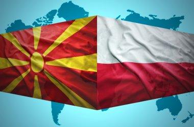 Waving Macedonian and Polish flags