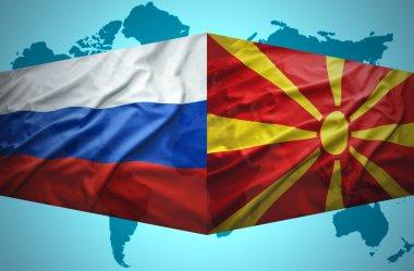 Waving Macedonian and Russian flags
