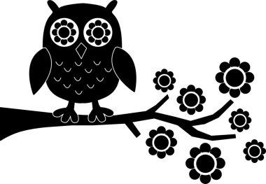 Black owl flowers branch