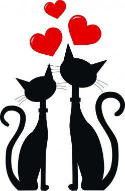 Two cats in love clip art vector