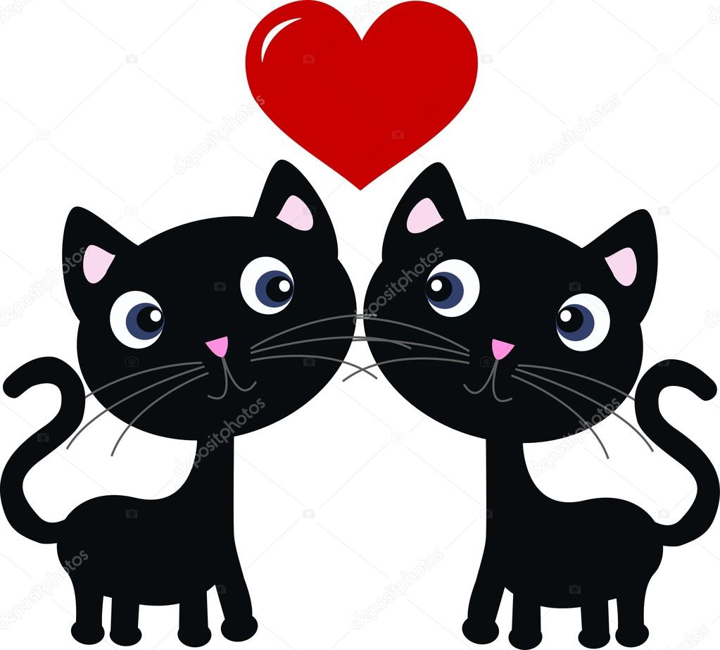 Two sweet cats in love