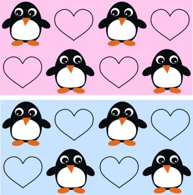 Seamless penguin pattern background