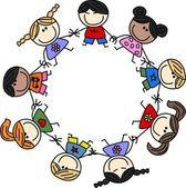 gemischte ethnische Kinder Teamarbeit