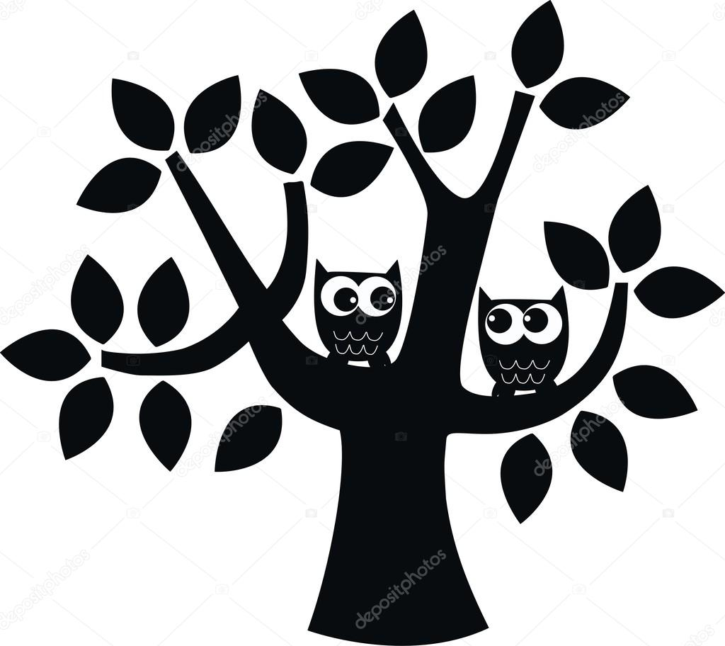 Two owls siting in a tree