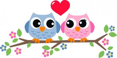 Two sweet owls in love stock vector