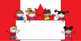 gemischte ethnische Kinder kanadische Flagge