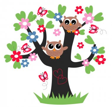 Two sweet owls sitting in a tree