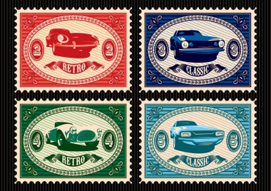 set of postage stamps with cars