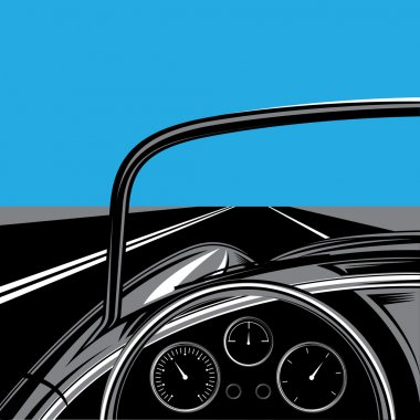 illustration with road, sky and traveling car