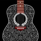 Grungy pozadí s černou akustická kytara